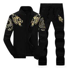 Outlet Cheap Print Stand Collar Zipper Men Sport Suit