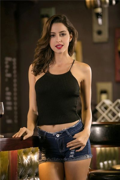 Sexy Spaghetti Straps Knitting Crop Tank Top