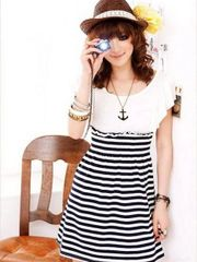 New Summer Fashion Striped Short Sleeve Mini Dress