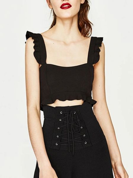 New Square Neck Black Crop Top(3-4 Days Delivery)
