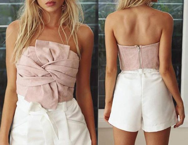 Chic Strapless Suede Tank Top