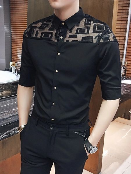 Lace Panel Half Sleeve Men Shirts Design
