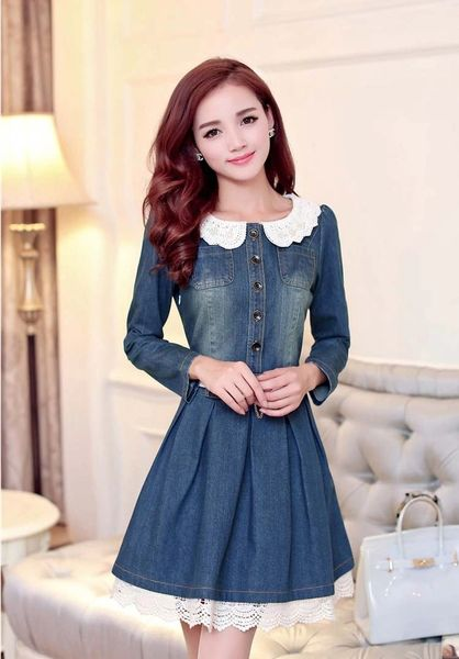 Korean Denim Dress Pure Color Lace Hollow Out Long Sleeve Doll Collar Regular Denim Blue Dress S-2XL