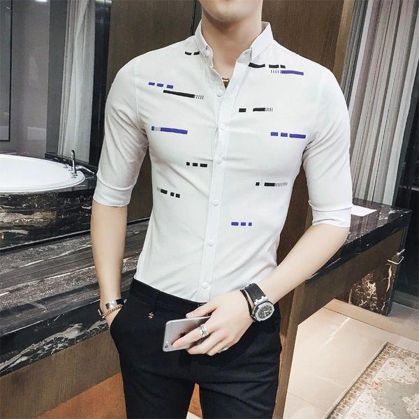 British Print Single Breasted Men Shirts