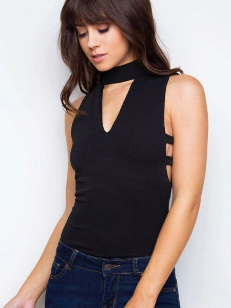 Online V Neck Hollow Out Tank