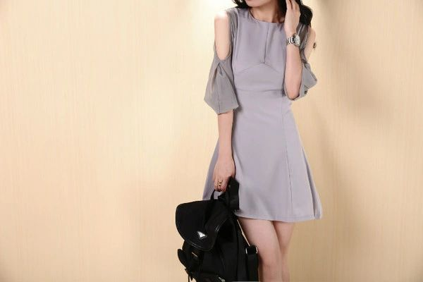 Summer Women Off Shoulders Light Gray Chiffon Dress