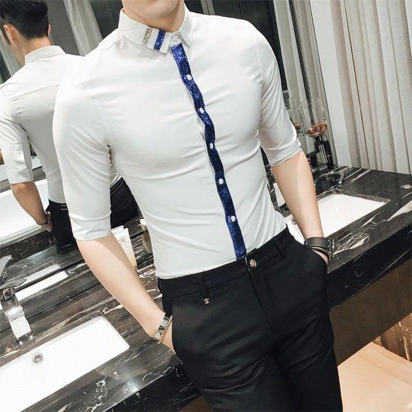 Fashion Men Patchwork Half Sleeve Shirt