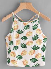 Hot Sale Pineapple Print Spaghetti Straps Camisole