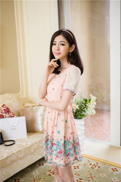 Sweet Floral Print Short Sleeve Bowknot Cute Dress