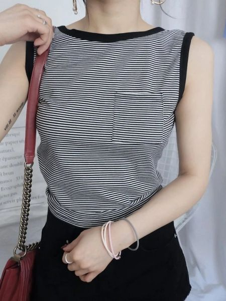 Sexy O Neck Backless Striped Tank