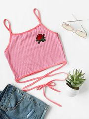 New Striped Embroidery Rose Tank Top