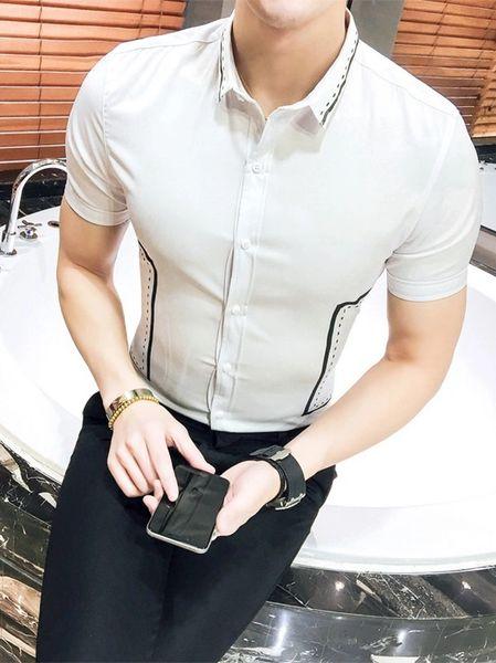 Summer Printed Turndown Collar Men Shirt