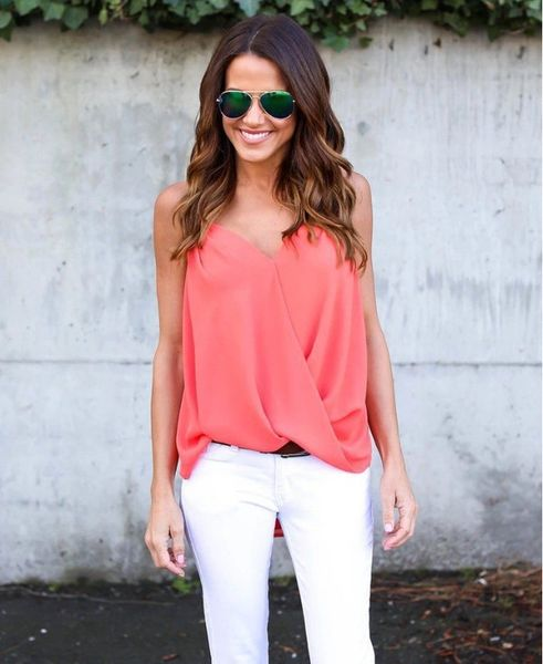 Solid V Neck Solid Tank Top