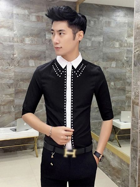 Korean Turndown Collar Dot Men Shirt