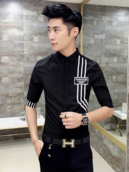 Stripe Decorated Turndown Collar Black Shirt