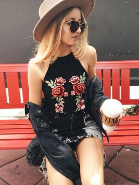 Euro Off The Shoulder Embroidery Cami Top