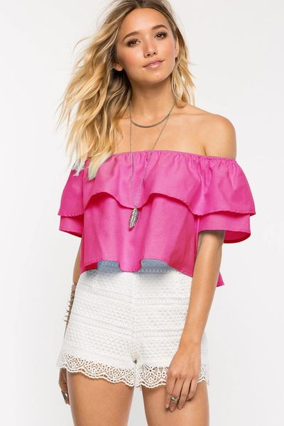 Simple Design Strapless Ruffle Sexy Tank Top