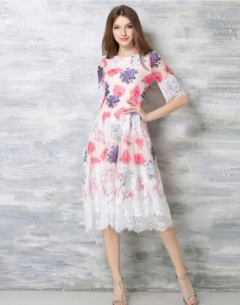 Noble Temperament Half Sleeve Lace Spliced Elegant Dress