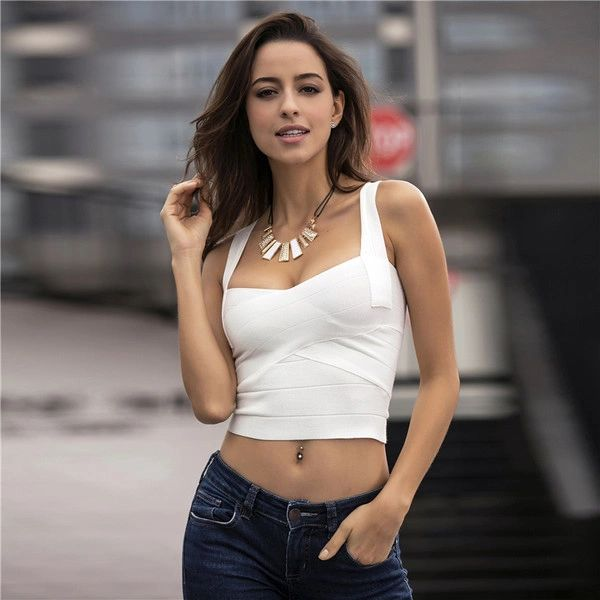 Zipper Up Bandage Knitting Crop Top Woman