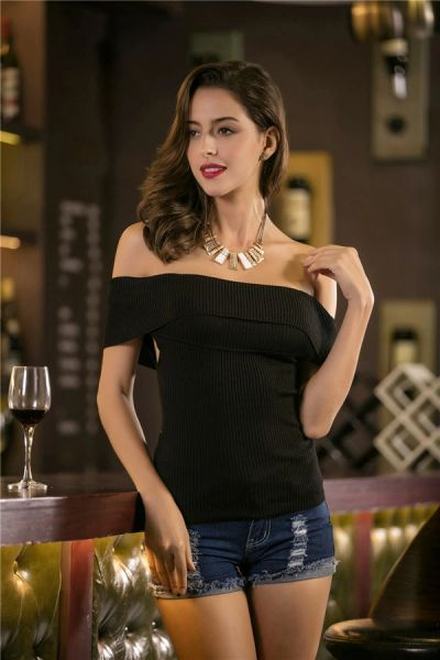 Cheap Off The Shoulder Knitting Top