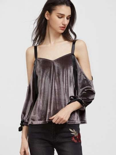 Cold Shoulder Backless Bandage Velour Blouse Design