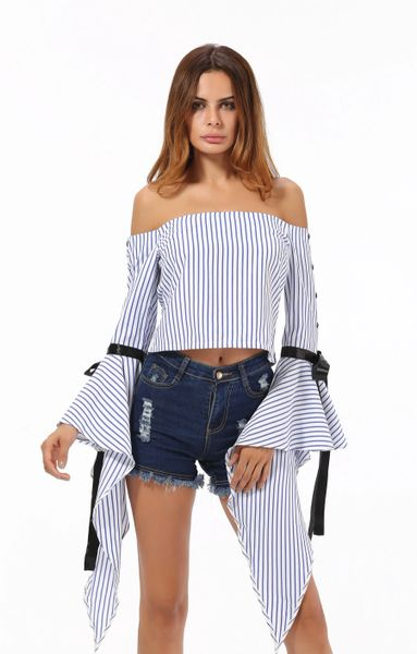 Stripe Bow Flare Sleeve Off Shoulder Blouse