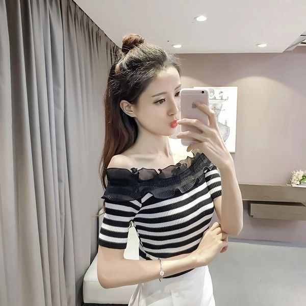 Chic Boat Neck Striped Blouse For Woman