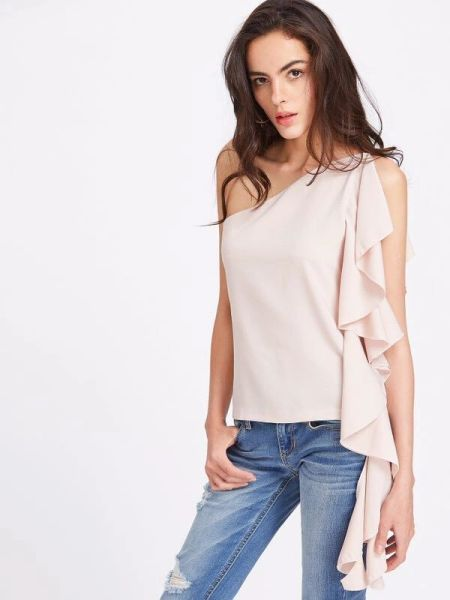 New Inclined Shoulder Fitting Boat Neck Blouse
