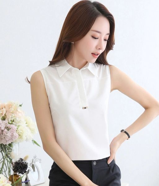 Chic Sleeveless Chiffon Blouse For Woman
