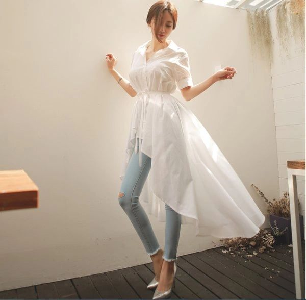 Personality Short Sleeve Solid Long Women Blouse