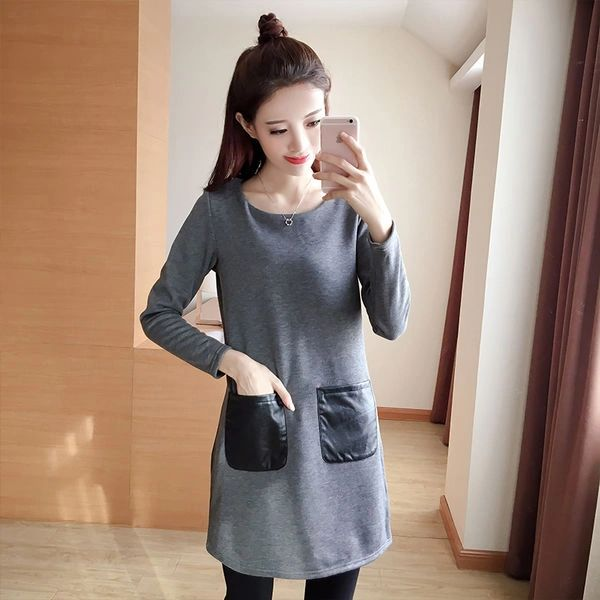 O Neck Pocket Casual Dresses