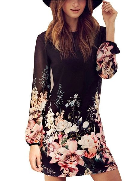 Chiffon Hollow Out Floral Printing Wrap Dresses