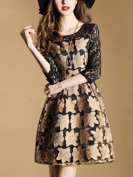 Korean O Neck Floral Lace Patchwork Pretty Dresses