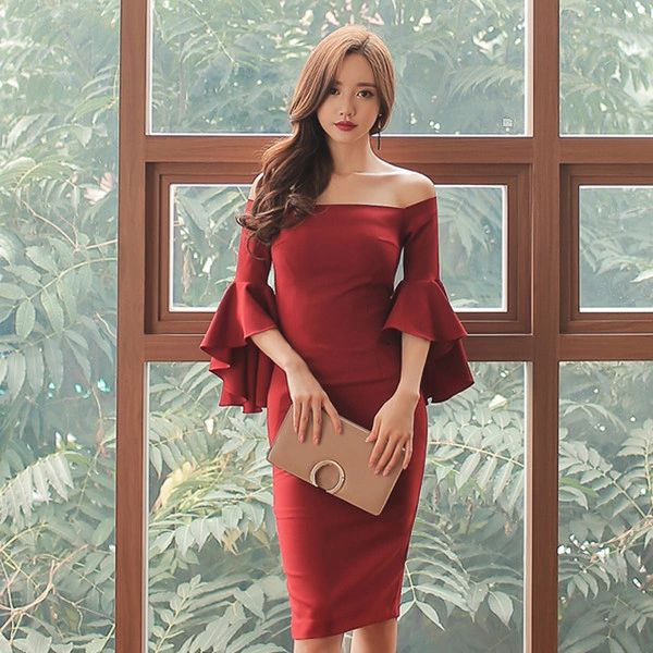 Flounced Sleeve Off Shoulder Sexy Dress