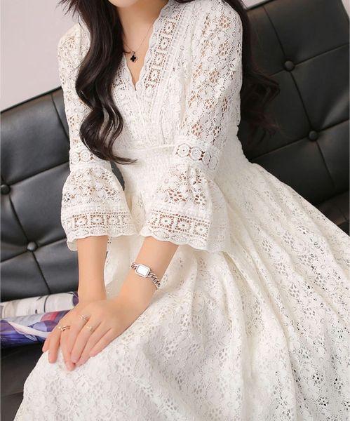 Wholesale Honey Girl Long Sleeve White Lace Split Lining Cute Women Lace Dress