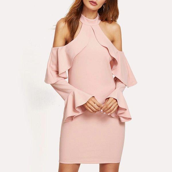 Cold Shoulder Flouncing Sexy Halter Dress