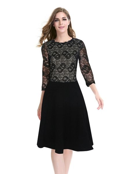 Hot Sale O Neck Lace Patchwork Elegant Dress