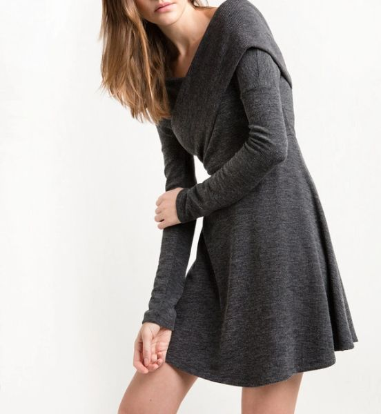 Euro Big V Neck Knitted Dresses