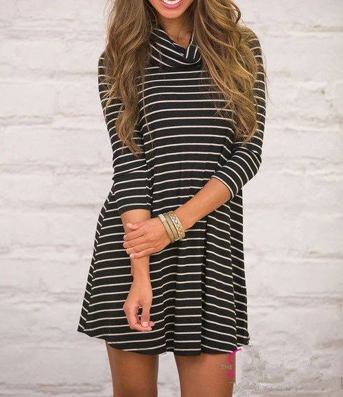 Stripe Long Sleeve Casual Dresses