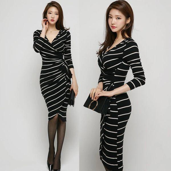New Arrival V Neck Striped Dresses