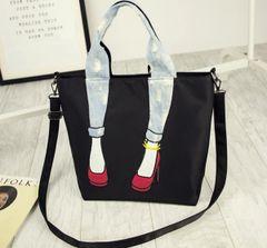 Unique Design Zipper Shoes Print Handle Bag