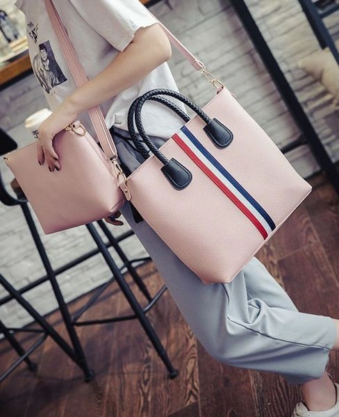 Fashion Stripe Decorated Zipper Handle Two Pieces Bag