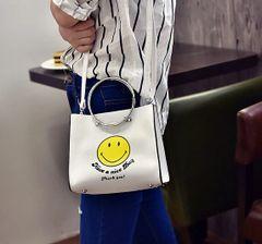 Korea Smile Print Hasp Handle Bag