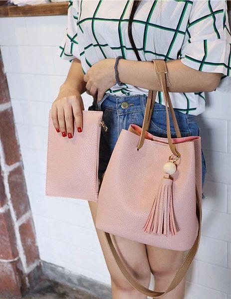 Korean Fringe Open 2pcs Tote Handle Bag