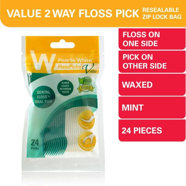 Pearlie White Floss Pick Value 2-IN-1 Waxed Mint Flosser