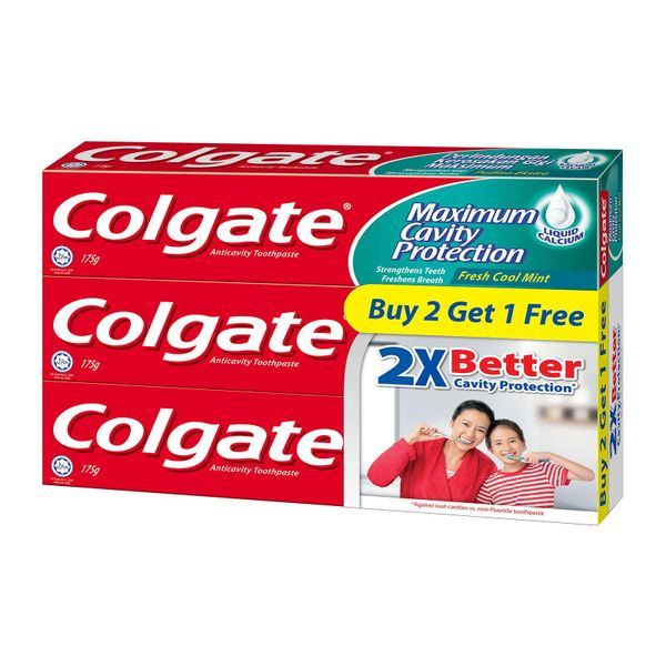 Colgate Anticavity Toothpaste Fresh Cool Mint Triple Pack 3 x 175 g