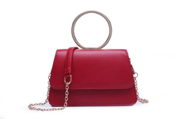 Wholesale Fashion Metal Ring Square Handle Bag