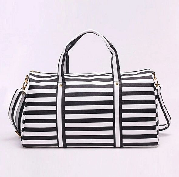 Chic Stripe Handle Zipper Travel Bag
