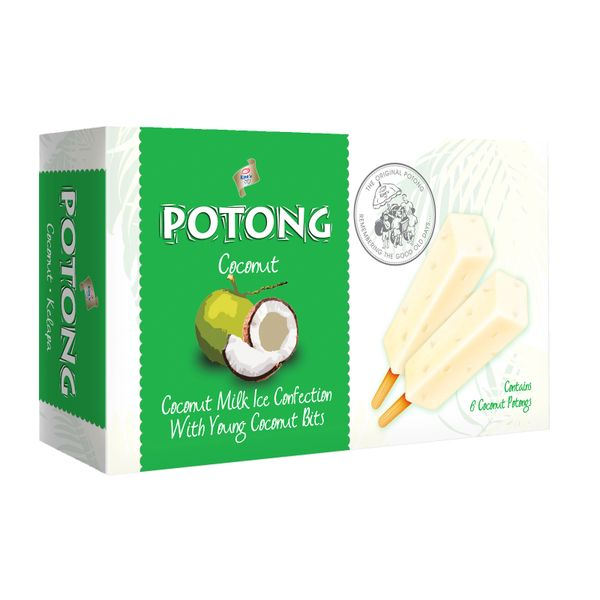 Potong Coconut Milk Ice Confection With Young Coconut Bits - Frozen 6 x 70 ml