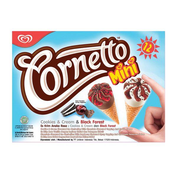 Cornetto Mini Cookies And Cream And Black Forest - Frozen 12 x 28 ml